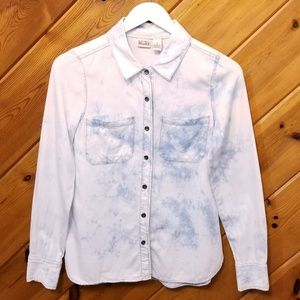 Bleached Chambray Button Up Shirt by Mudd small